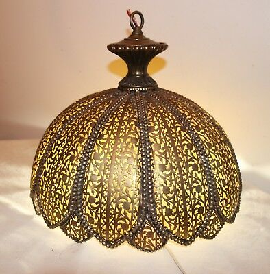 antique ornate handmade French reticulated chased brass ceiling fixture shade