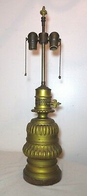 antique 1800's French Gagneau dore bronze converted oil electric table lamp