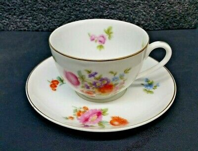 Beautiful Antique KPM Germany Floral Hand Painted Porcelain Tea Cup and Saucer
