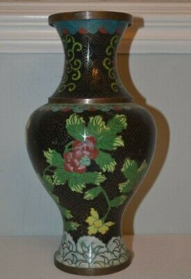 Antique Early 20th C Chinese Cloisonne Vase with Flower