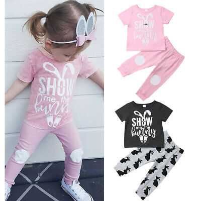 AU Stock Baby Kids Girl Boy Summer Outfits T-shirt Tops Pants Easter Clothes Set