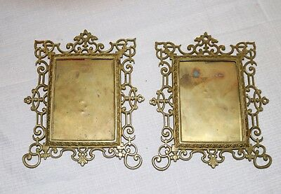 pair of 2 antique ornate gilt brass wall picture frames bronze 5 x 3 3/4 opening