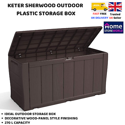 Garden Storage Shed Container Outdoor Outside Box Plastic Panelled Wood Effect