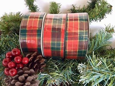 3 ROLLS TARTAN RIBBON GARLANDS GIFTS CRAFTS BOWS WRAPPING DECORATION 4cm