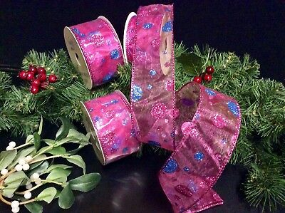 "10yds ""CHRISTMAS POINSETTIA"" WIRED RIBBON TREES WREATHS GARLANDS GIFTS BOWS 5cm"