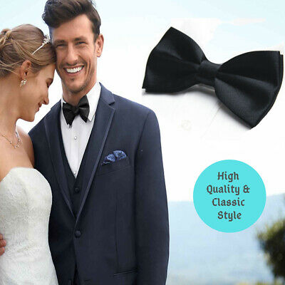 High Quality Classic Casual Wedding Formal Smooth Silky Style Black Palin Bowtie