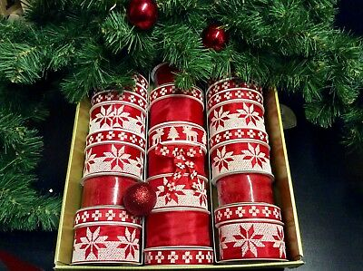 """15 Christmas Ribbons All Wired Bows Gift Wrapping & Decoration """"Nordic Design"""""""