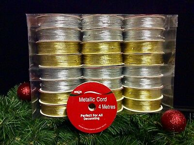 24 ROLLS CHRISTMAS GOLD + SILVER METALLIC CORDS. BAUBLES, DECORATIONS CRAFTS 4mt