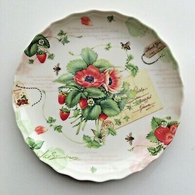 "Momentum Brands Decorative Plates Set of 5 Strawberries/Flowers/Bees 7"" x 7"""