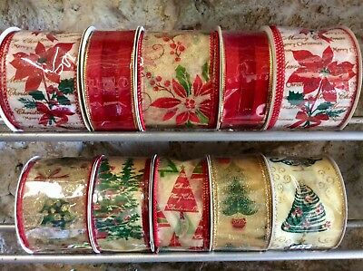 6 Rolls Christmas Red Ribbon Bundle Trees & Poinsettias For Gift Wreath Wrapping