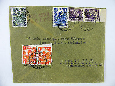 Air mail par avion cover Peru pair stamps Lima to Berlin 1933