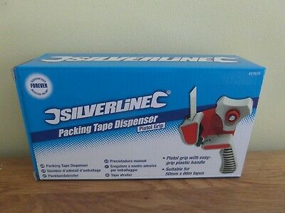 NEW BOXED: SILVERLINE PISTOL GRIP PACKING TAPE DISPENSER - suitable 50 mm x 66 m