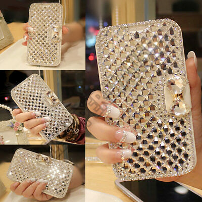 Samsung S10 Plus S9 S8 S7 Bling Crystal Diamond Leather Flip Stand wallet Case