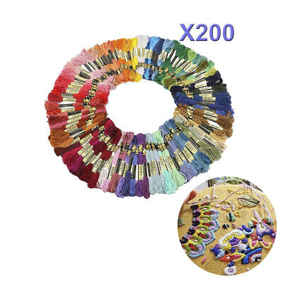 200 X Mix Colors Embroidery Thread Floss Kit Cross Stitch Cotton Sewing Skeins