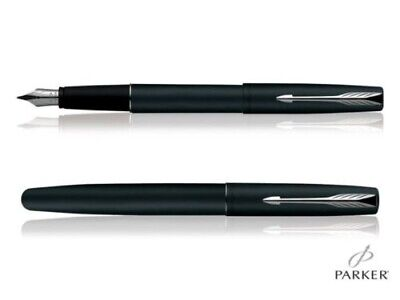 PARKER FRONTIER MATTE BLACK FOUNTAIN PEN CHROME TRIM Free ink and carry case