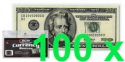 100 pcs US Currency Paper Money Bill Protector Sleeves for Regular Bills Holders