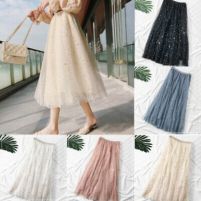 AU Women High Waisted Knee Length 3 Layers Tulle Dress Stretch Pencil Midi Skirt