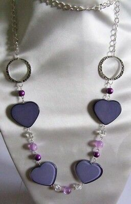 """Handmade Lilac acrylic heart beads, glass beads, necklace 40"""" silver plated"""