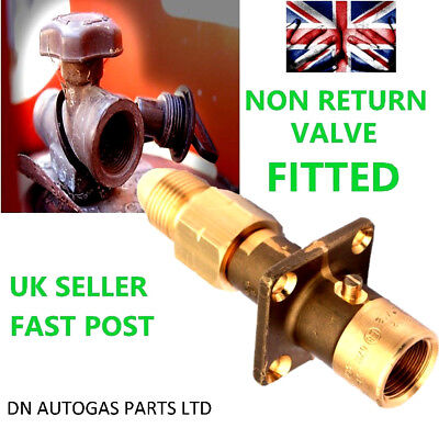 UK Bayonet LPG Filling Point Filler to Gas BOTTLE Adapter WITH NON RETURN VALVE