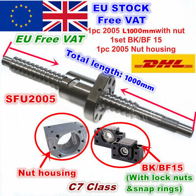 【In EU】SFU2005 1000mm Ballscrew+2005 Ballnut + BK/BF15 End support + Nut housing