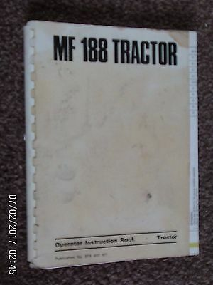 Massey-Ferguson Mf188 Tractor  Works Issued Nstruction Book 1975