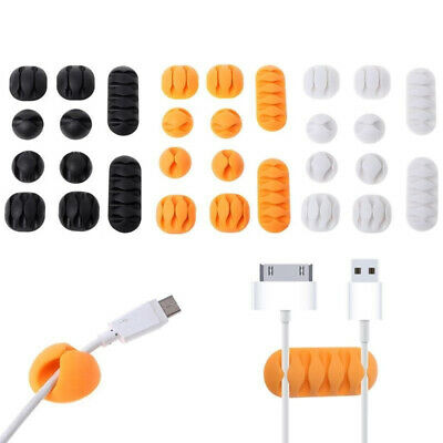 10Pcs Durable Cable Mount Clips Self-Adhesive Desk Wire Organizer Cord Holder KW