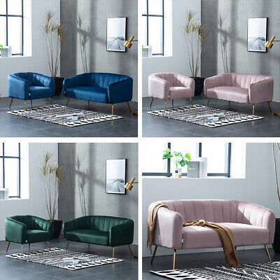 Velvet 1/2 Seater Loveseat Sofa Small Settee Couch Deep Upholstered Seat Suite
