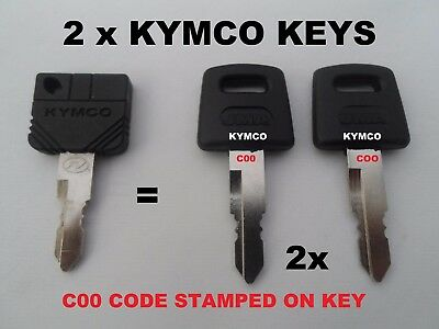 2 x KYMCO mobility scooter keys CUT TO CODE KEY CODE C00 C00A