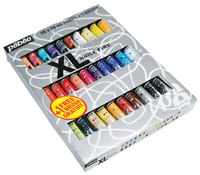 Pebeo Studio XL Oil Paint Large Set of 30 x 20ml Colours & Brush