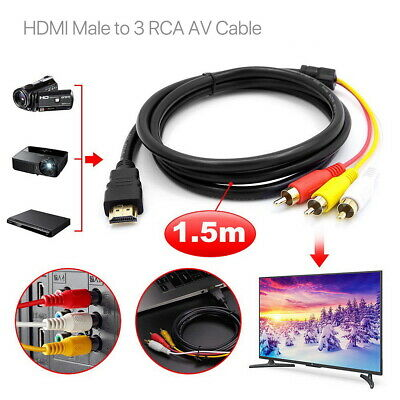 1.5m HDMI Male to 3 RCA Video Audio Converter Component AV Adapter Cable