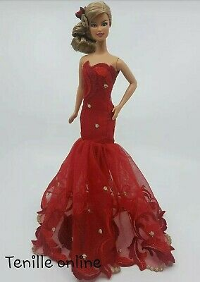 New Barbie clothes outfit princess ball gown wedding dress red gold fishtail