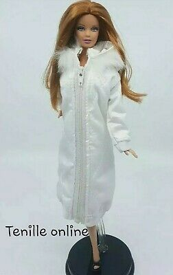 New Barbie clothes outfit jacket fur coat sweater jumper white