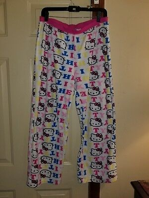 95a59a42d Hello Kitty Womens Fleece Pajama Pants Pjs Lounge Pant XL Extra Large Pink  White