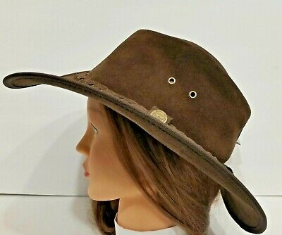 a0d5d61c5553c7 Henschel Hats OUTBACK Rustic CRUSHABLE Leather Western Cowboy Hat NEW USA  MADE