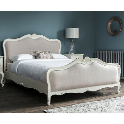 Frank Hudson Chic Vanilla Upholstered French Chic Bed With Natural Woven Linen