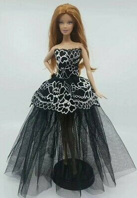 New Barbie clothes outfit princess wedding dress ball gown black lace pretty