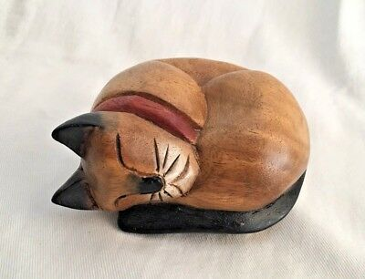 Vintage Siamese Cat 80's Hand Carved & Painted Wooden Sleeping Figure 5.5""