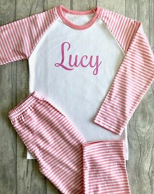 PERSONALISED PYJAMAS GIFT KEEPSAKE, Light Pink Glitter Name Pink and White PJs