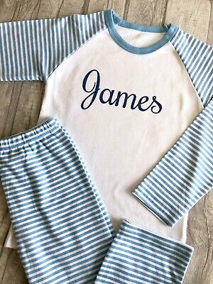 PERSONALISED PYJAMAS BIRTHDAY PJ'S GIFT , Custom Glitter Name Blue and White PJs