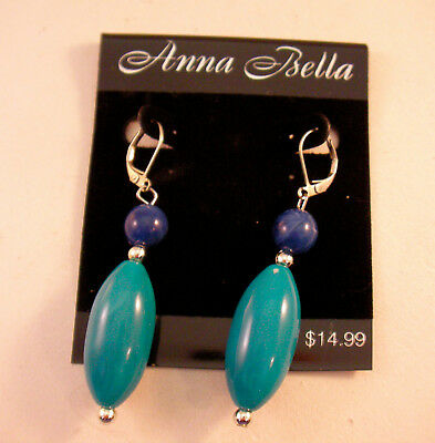 Anna Bella Silver Drop Dangle Earrings 2 Stone Round Blue Bead Long Oval Crystal