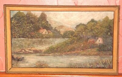 Country Meadow  And Pond Landscape Oil Painting 1936