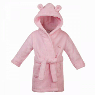 Brand New Baby Toddler Pink Fleece Dressing Gown Teddy Bear Ears Size 18 - 24 mo