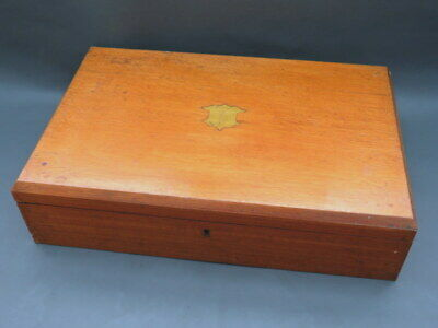 Vintage empty oak wooden cutlery box & lift out tray - convert to collectors box