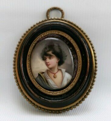 Vtg 19thC Miniature Oval Framed Portrait Painting Of Victorian or Georgian Lady