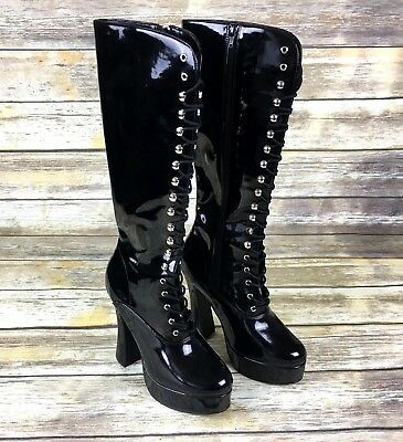 56d3ae919b1 PLEASER BEYOND 2020 Black Patent Exotic Dancing Platform Knee Boots ...