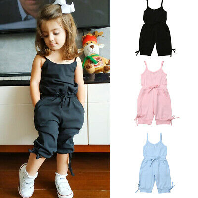 AU Stock Summer Kid Baby Girl Vest Tank Romper Jumpsuit Bodysuit Clothes Outfit