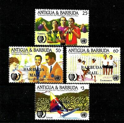 Caribbean Antigua & Barbuda Sg799-sg802 Butterflies Ovpt Barbuda Mail 1985 Unmounted Mnh Antigua & Barbuda (1981-now)