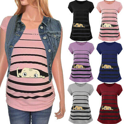 Maternity Cute Funny Baby Print Striped Short Sleeve T-shirt Pregnant Tops US