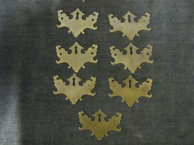 """7 Matched Vintage Batwing Plates Solid Brass with Key Hole 4"""" x 3"""""""