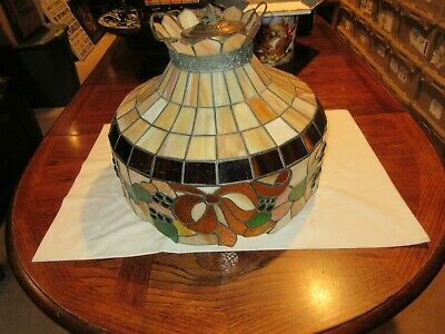 """Tiffany, Stained Glass , Ceiling Hanging Chandelier , 16"""" , Custom Made ,Vintage"""